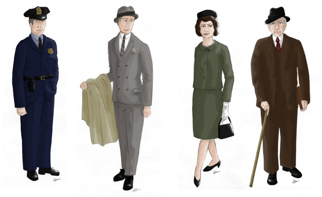 Costume sketches for 'The Price'